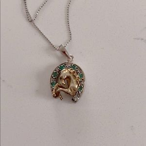 Equestrian Horseshoe Pendant with real Emeralds